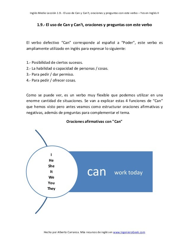 Inglés Medio Lección 1.9.- El uso de Can y Can't, oraciones y preguntas con este verbo – Yes en Inglés II  1.9.- El uso de...