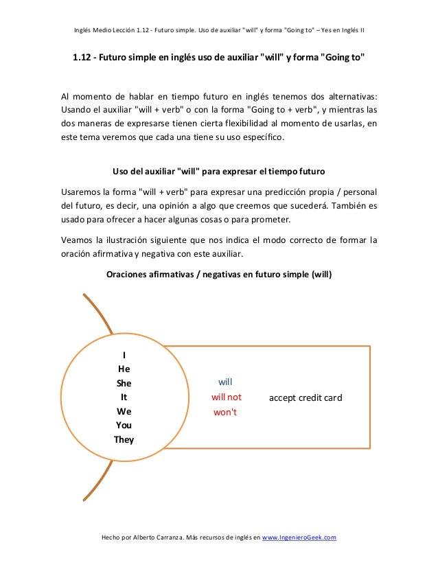 """Inglés Medio Lección 1.12 - Futuro simple. Uso de auxiliar """"will"""" y forma """"Going to"""" – Yes en Inglés II  1.12 - Futuro sim..."""