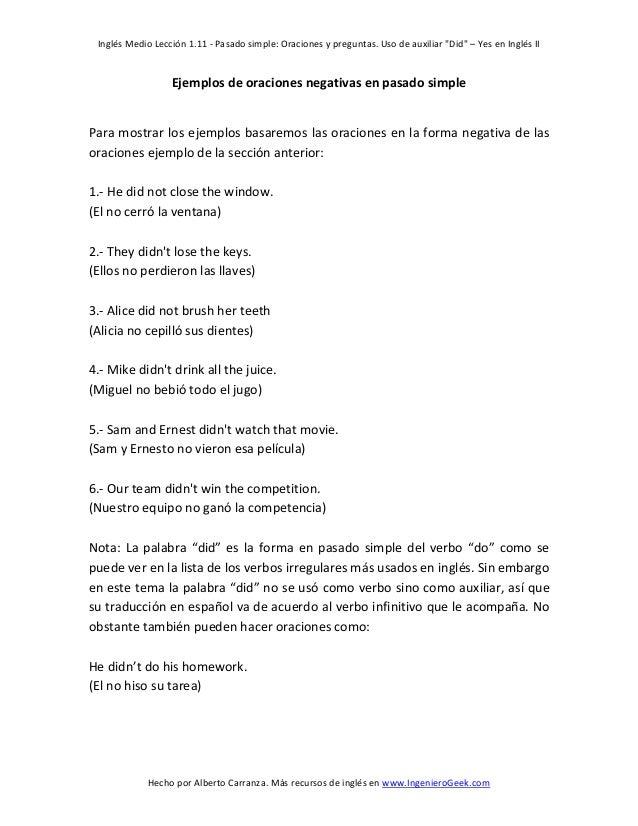 111 Pasado Simple Oraciones Y Preguntas Uso De Auxiliar Did