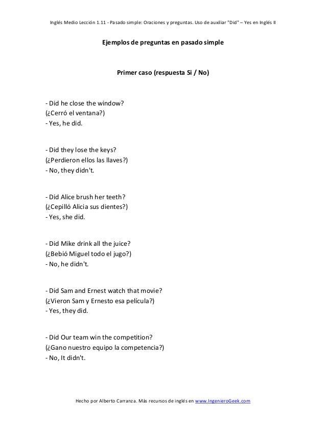 1 11 Pasado Simple Oraciones Y Preguntas Uso De Auxiliar Did