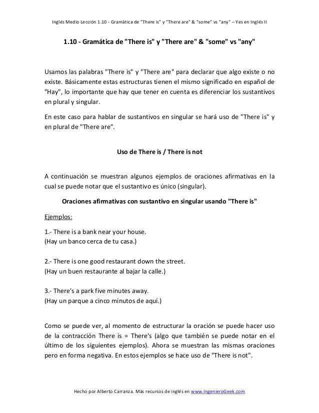 "Inglés Medio Lección 1.10 - Gramática de ""There is"" y ""There are"" & ""some"" vs ""any"" – Yes en Inglés II  1.10 - Gramática d..."