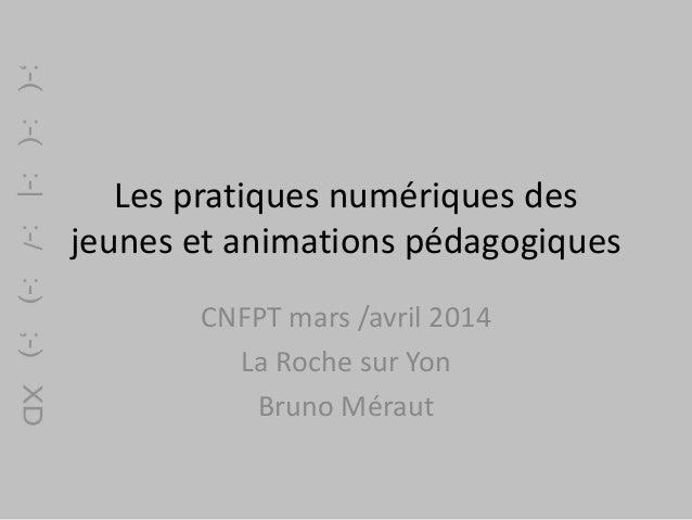 Les pratiques numériques des jeunes et animations pédagogiques CNFPT mars /avril 2014 La Roche sur Yon Bruno Méraut