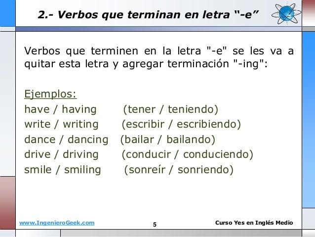 5 oraciones afirmativas en ingles con el verbo ing