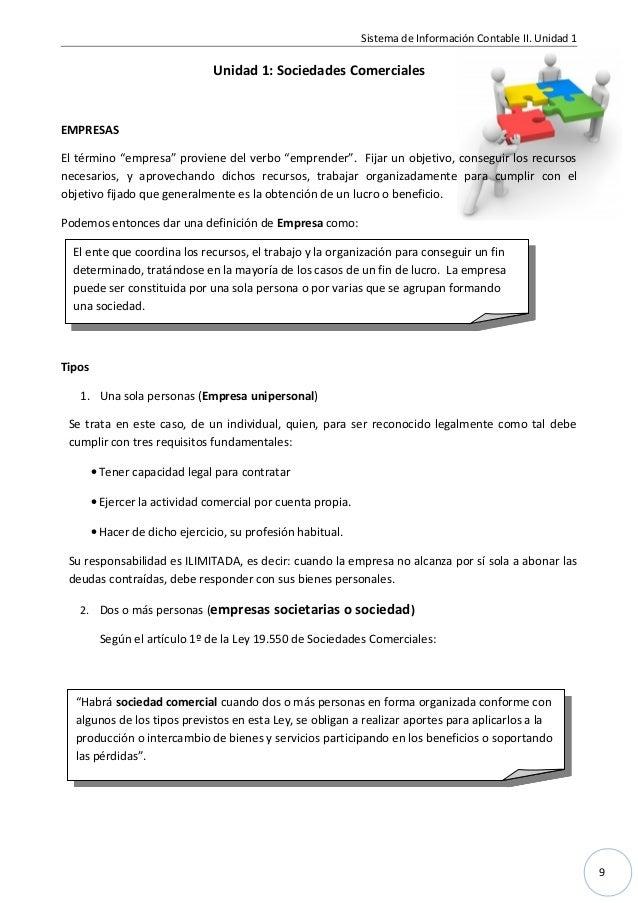 """9 Sistema de Información Contable II. Unidad 1 Unidad 1: Sociedades Comerciales EMPRESAS El término """"empresa"""" proviene del..."""