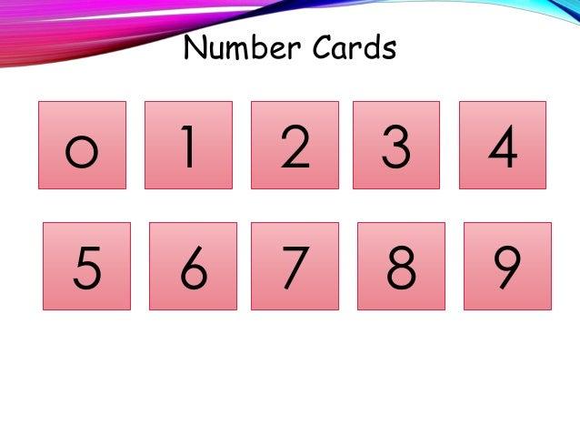 Number Cards o 4321 5 6 7 8 9