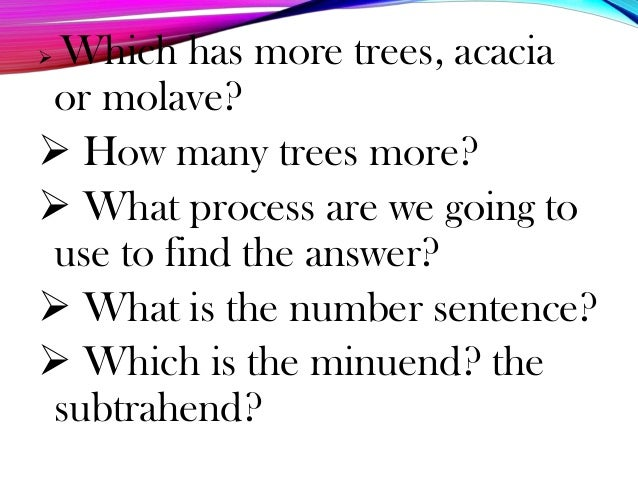  Which has more trees, acacia or molave?  How many trees more?  What process are we going to use to find the answer?  ...