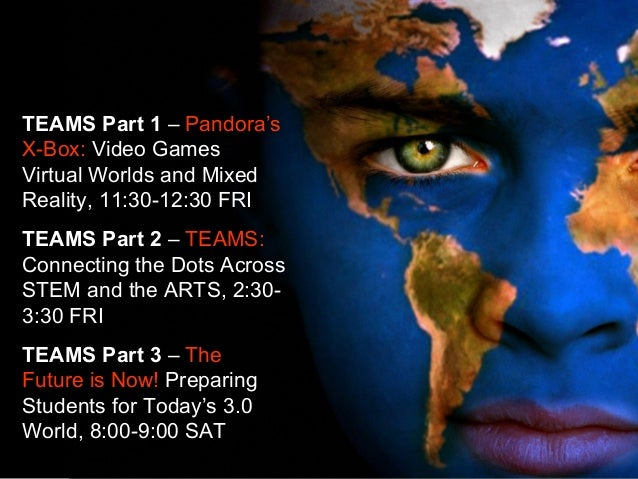 TEAMS Part 1 – Pandora's X-Box: Video Games Virtual Worlds and Mixed Reality, 11:30-12:30 FRI TEAMS Part 2 – TEAMS: Connec...