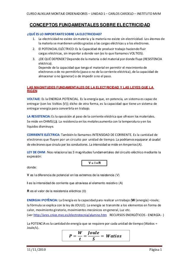 CURSO AUXILIAR MONTAJEORDENADORES – UNIDAD 1 – CARLOS CARDELO – INSTITUTO MVM 11/11/2010 Pàgina 1 CONCEPTOS FUNDAMENTALES ...