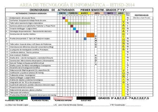 CRONOGRAMA DE ACTIVIDADES PRIMER SEMESTRE. GRADOS 7° Y 9°. ACTIVIDADES / SEMANA ASIGNADA ENERO FEBRERO MARZO ABRIL MAY0 JU...