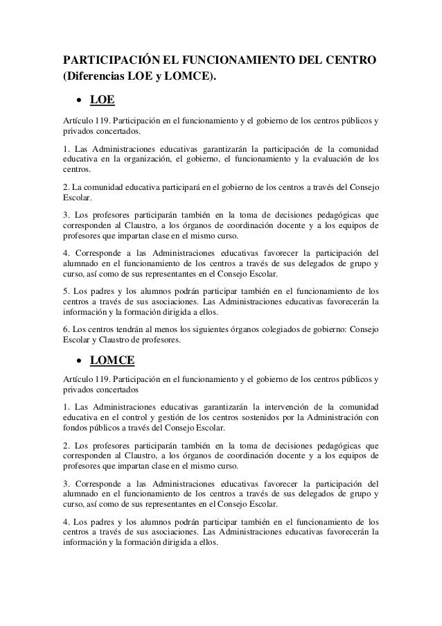 PARTICIPACIÓN EL FUNCIONAMIENTO DEL CENTRO (Diferencias LOE y LOMCE).  LOE Artículo 119. Participación en el funcionamien...