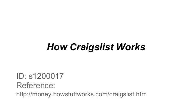 How Craigslist Works ID: s1200017 Reference: http://money.howstuffworks.com/craigslist.htm