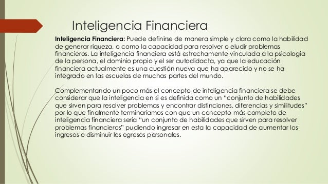 inteligencia y educación financiera