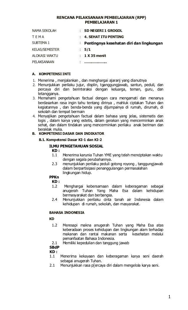 1 Contoh Rpp Kelas 5 Kurikulum 2013