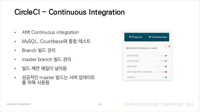 CircleCI - Continuous Integration • 서버 Continuous integration • MySQL, Couchbase와 통합 테스트 • Branch 빌드 관리 • master branch 빌드...