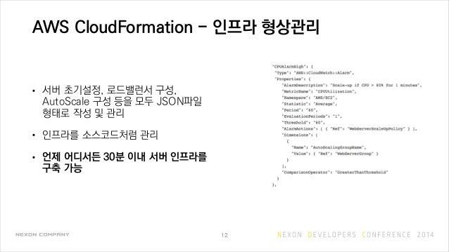 AWS CloudFormation - 인프라 형상관리 • 서버 초기설정, 로드밸런서 구성, AutoScale 구성 등을 모두 JSON파일 형태로 작성 및 관리 • 인프라를 소스코드처럼 관리 • 언제 어디서든 30분 이내...