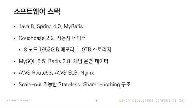 소프트웨어 스택 • Java 8, Spring 4.0, MyBatis • Couchbase 2.2: 사용자 데이터 • 8 노드 1952GiB 메모리, 1.9TB 스토리지 • MySQL 5.5, Redis 2.8: 게임 ...