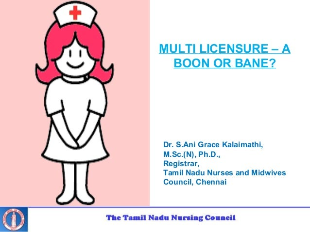 Dr. S.Ani Grace Kalaimathi, M.Sc.(N), Ph.D., Registrar, Tamil Nadu Nurses and Midwives Council, Chennai MULTI LICENSURE – ...