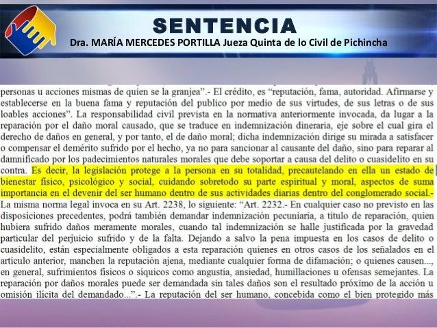 SENTENCIA Dra. MARÍA MERCEDES PORTILLA Jueza Quinta de lo Civil de Pichincha