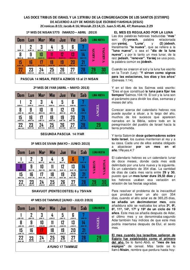 1 9a doce tribus de israel y 13tribu congregacion de los for Calendario lunar de hoy