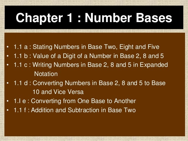 Chapter 1 : Number Bases • 1.1 a : Stating Numbers in Base Two, Eight and Five • 1.1 b : Value of a Digit of a Number in B...