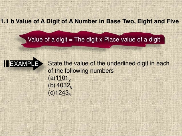 1.1 b Value of A Digit of A Number in Base Two, Eight and Five Value of a digit = The digit x Place value of a digit State...