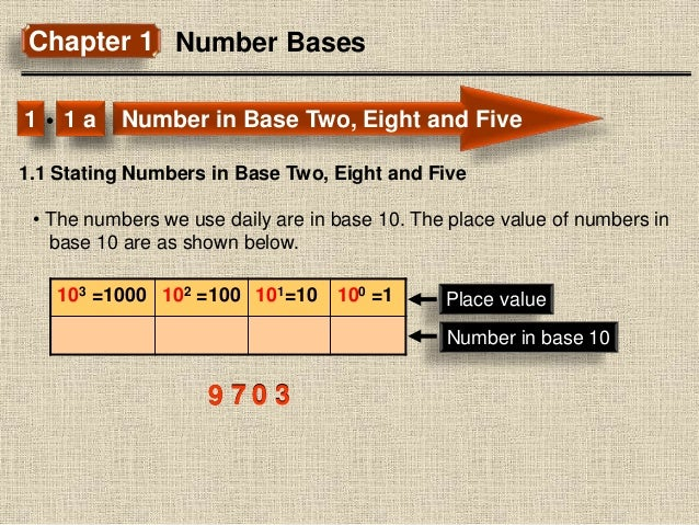 Chapter 1 Number Bases Number in Base Two, Eight and Five1 1 a 1.1 Stating Numbers in Base Two, Eight and Five • The numbe...