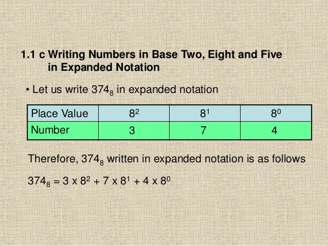 1.1 c Writing Numbers in Base Two, Eight and Five in Expanded Notation • Let us write 3748 in expanded notation Place Valu...
