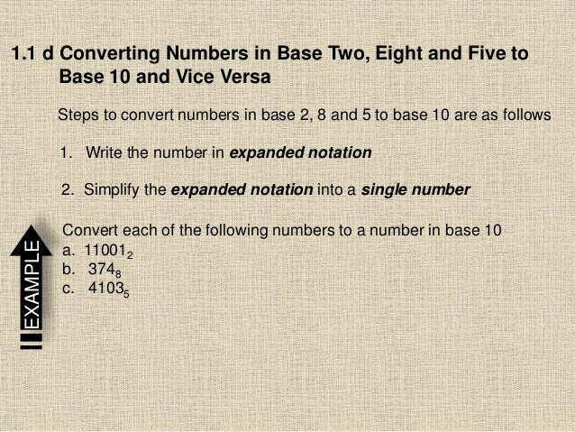 1.1 d Converting Numbers in Base Two, Eight and Five to Base 10 and Vice Versa Steps to convert numbers in base 2, 8 and 5...