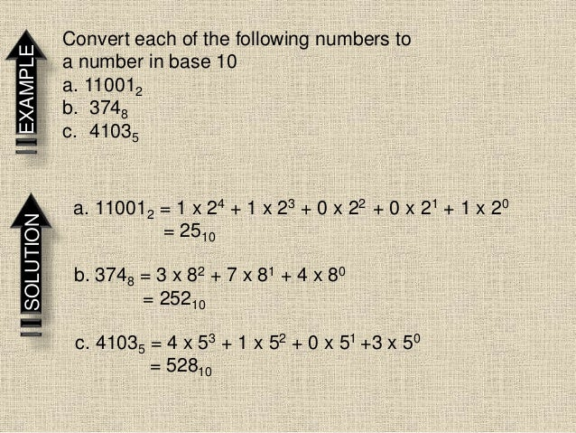 EXAMPLE Convert each of the following numbers to a number in base 10 a. 110012 b. 3748 c. 41035 SOLUTION a. 110012 = 1 x 2...