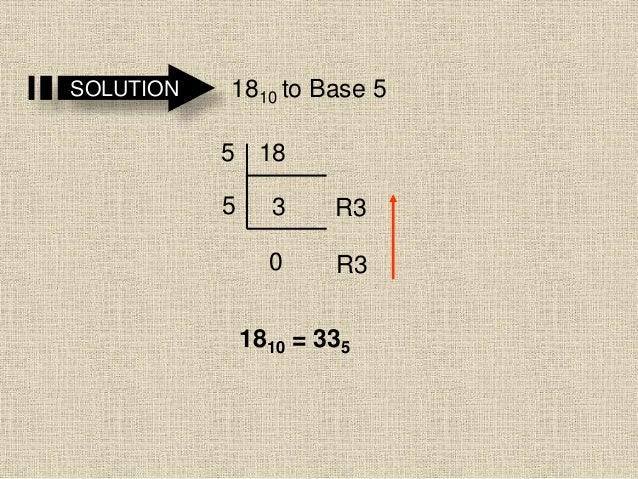 SOLUTION 1810 to Base 5 18 3 0 5 5 R3 R3 1810 = 335
