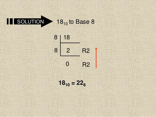 SOLUTION 1810 to Base 8 18 2 0 8 8 R2 R2 1810 = 228