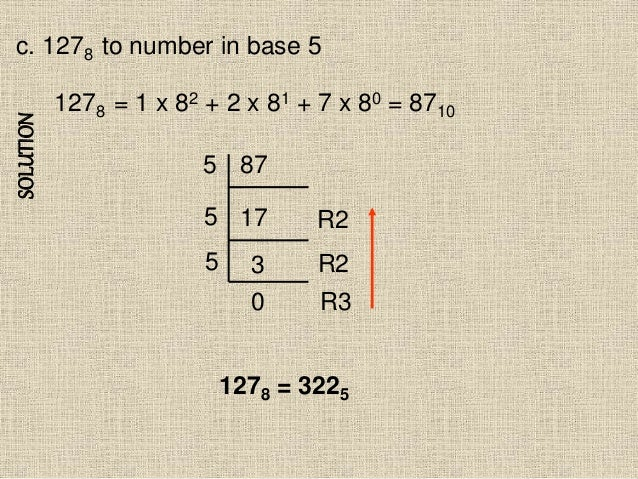 SOLUTION c. 1278 to number in base 5 1278 = 1 x 82 + 2 x 81 + 7 x 80 = 8710 87 17 3 5 5 R2 R2 1278 = 3225 5 0 R3