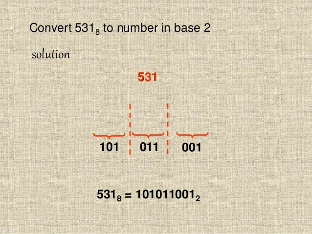 Convert 5318 to number in base 2 solution 5318 = 1010110012 531135 001011101