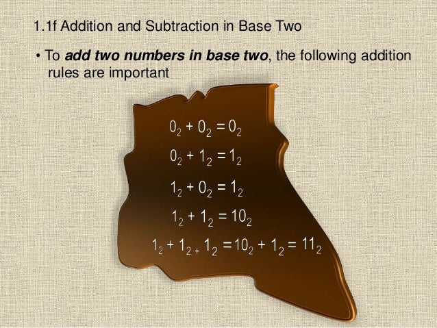 1.1f Addition and Subtraction in Base Two • To add two numbers in base two, the following addition rules are important