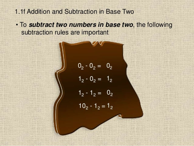 1.1f Addition and Subtraction in Base Two • To subtract two numbers in base two, the following subtraction rules are impor...