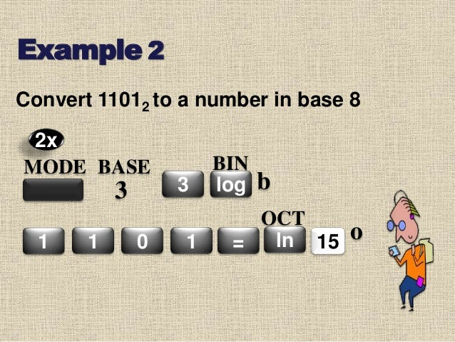 Convert 11012 to a number in base 8 Example 2 MODE BASE 3 3 1 0 1 = log BIN 151 ln OCT 2x b o