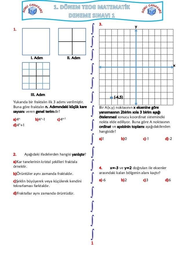 1 Dönem Teog Matematik Deneme Sınavı 1
