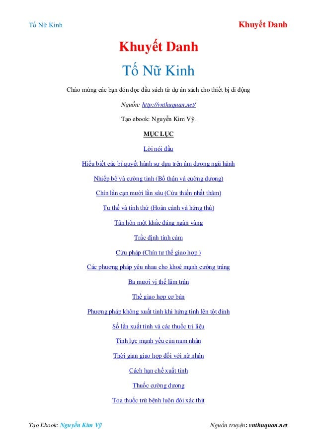 Tố Nữ Kinh Khuyết Danh Tạo Ebook: Nguyễn Kim Vỹ Nguồn truyện: vnthuquan.net Khuyết Danh Tố Nữ Kinh Chào mừng các bạn đón đ...