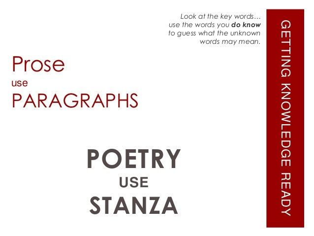 usage of prose in poetry Prose can be best defined formally and can be defined in contrast to poetry and to other forms of writing (like certain lists or certain kinds of directions.
