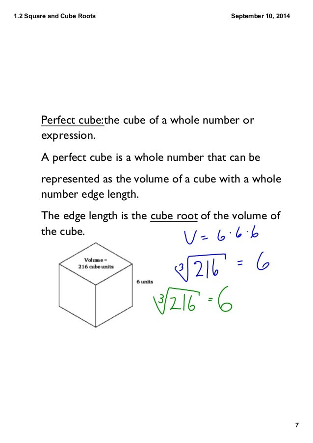 12 Perfect Squares And Perfect Cubes Of Whole Numbers