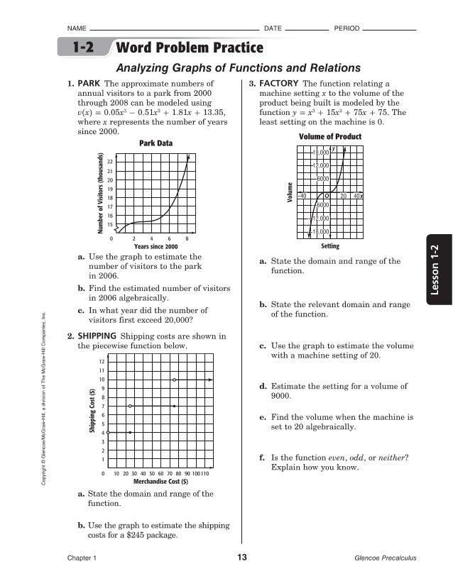 Worksheets Glencoe/mcgraw-hill Word Problem Practice Answers 1 2 precalculus glencoe ji1do 4 copyright mcgraw hill a divisron