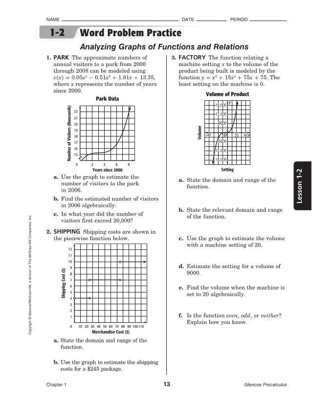 Printables Glencoe/mcgraw-hill Word Problem Practice Answers 1 2 precalculus glencoe ji1do 4 copyright mcgraw hill a divisron