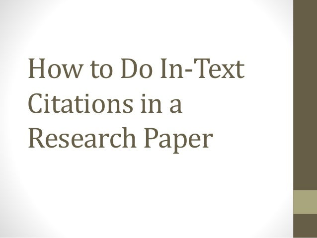 In Text Citation