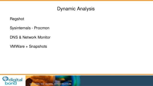 Dynamic Analysis  Regshot  Sysinternals - Procmon  DNS & Network Monitor  VMWare + Snapshots