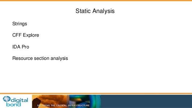 Static Analysis  Strings  CFF Explore  IDA Pro  Resource section analysis
