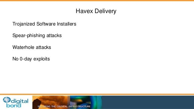 Havex Delivery  Trojanized Software Installers  Spear-phishing attacks  Waterhole attacks  No 0-day exploits