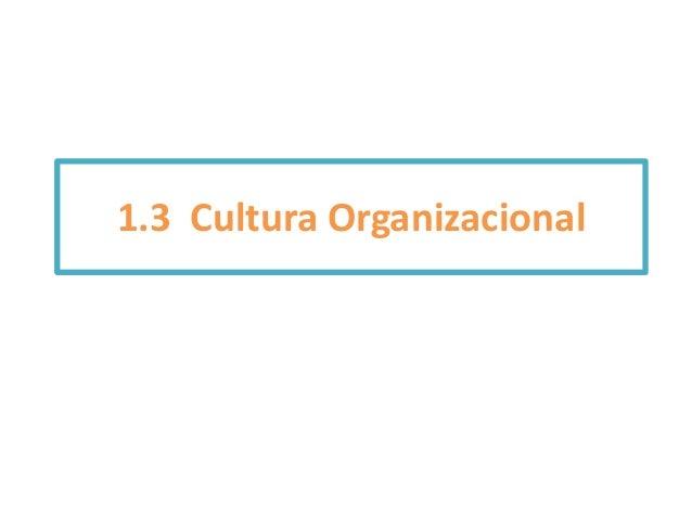 1.3 Cultura Organizacional