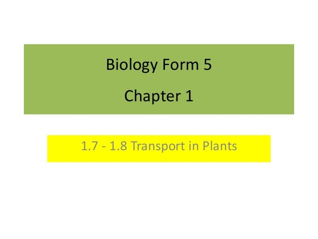 Biology Form 5  Chapter 1  1.7 - 1.8 Transport in Plants