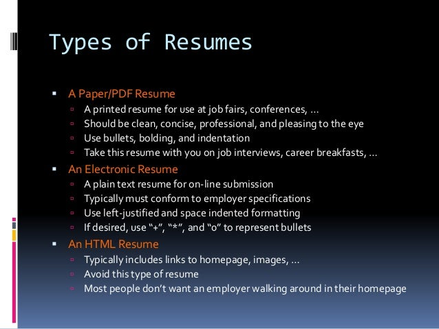 Types Of Resumes What Are The 3 Main Resume Types? | JobClustercom ...