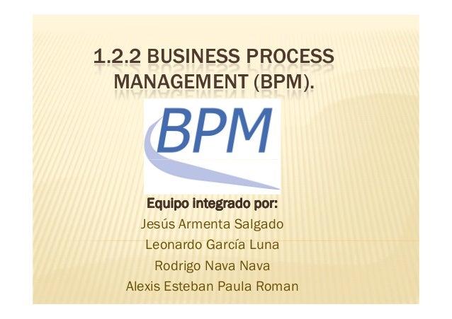 1.2.2 BUSINESS PROCESS MANAGEMENT (BPM). Equipo integrado por:Equipo integrado por: Jesús Armenta Salgado Leonardo García ...
